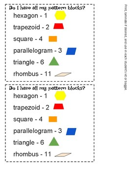 Student Checklist for Pattern Block Manipulative Sets - Materials Management