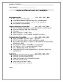 Student  Checklist for Planning an Effective Presentation