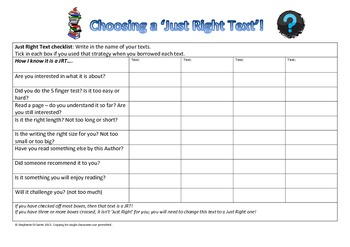 Student Checklist for choosing a Just Right Text for Reade