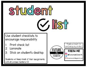 Student Checklists for Desks