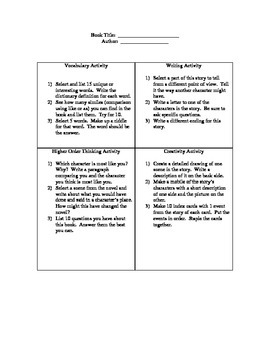 Student Choice Activity for Any Book