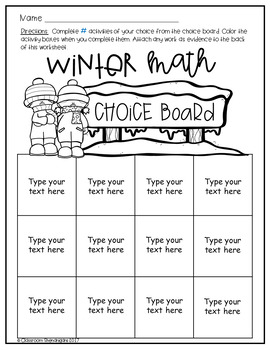 Student Choice Boards: Winter Edition {EDITABLE}