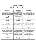 Student Choice Menu- Central Message of a Story