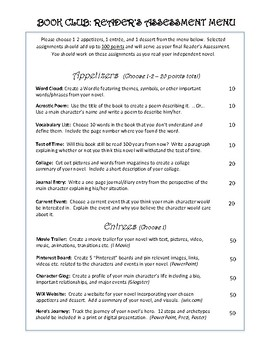 """Student Choice """"Menu"""" Reader's Assessment Project"""