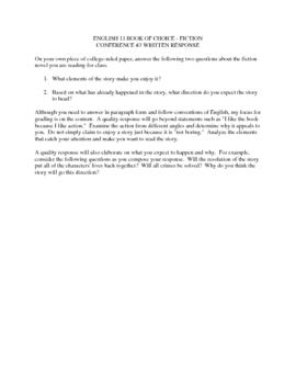 Student Choice Novel Assignment
