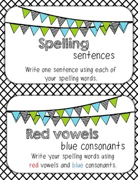 Student Choice Spelling Menu Activity Posters