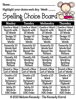Spelling Choice Boards and Activities