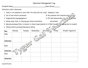 Student Classroom Management Log