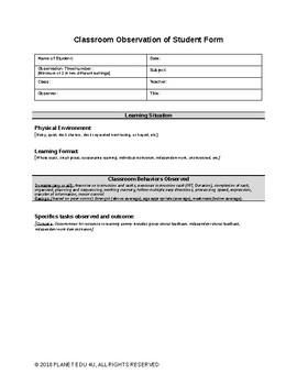 Student Classroom Observation Form