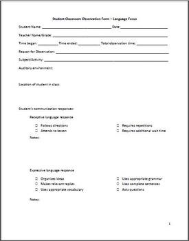 Student Classroom Observation Form/Checklist – Language Focus