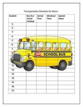 Student/Classroom Transportation List