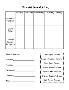 Student Clip Chart Behavior Log