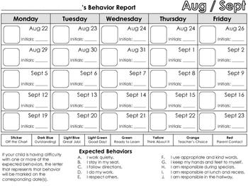 Monthly Student Clip Chart Behavior Report Calendar