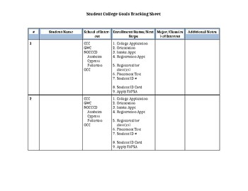 Student College Goal Tracking Worksheet