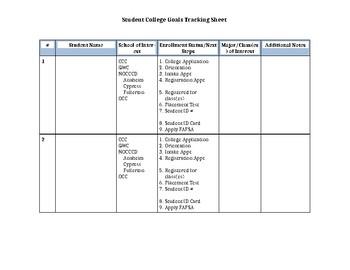 Student College Goal Tracking Worksheet
