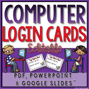 Student Computer Login Cards (Editable)