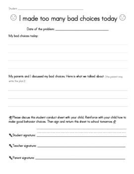 Student Conduct Sheet