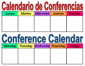 Student Conference Calendar Dual Language