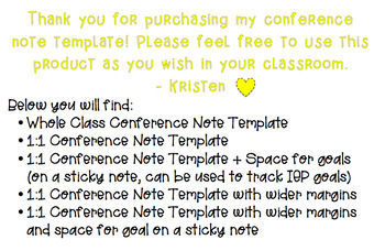 Student Conference Note Template