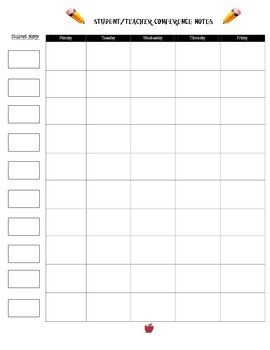 Student Conference Notes Template