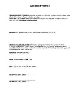 Student Conflict Behavior Support Worksheet