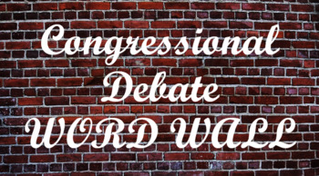 Student Congress / Congressional Debate Word Wall- Brick Template