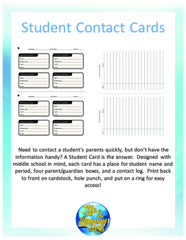 Student Contact Card