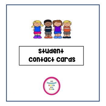 Student Contact Card FREEBIE
