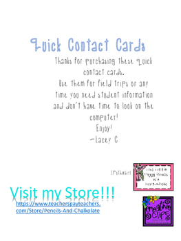 Student Contact Cards