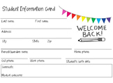 Student Contact Information Handout