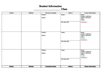 Student Contact Information form (editable)
