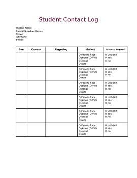 Student Contact Log