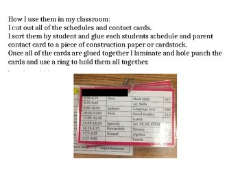 Student Contact/Schedule Flip Book