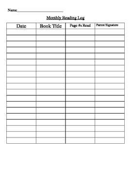 Student Continual Reading Log