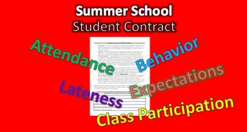 Student Contract for Summer School 1st Day Handout Attendance, Lateness