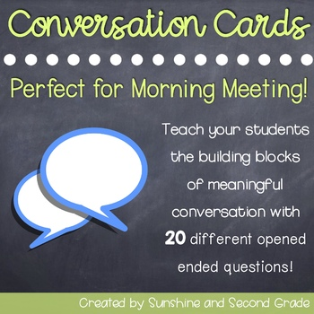Student Conversation Cards: Perfect for Morning Meeting!