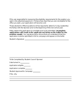 Student Council Application Form With References