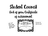 Student Council Certificate of Achievement