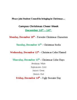 Christmas Spirit Week Ideas.Student Council Christmas Cheer Spirit Days By Casadecrowder