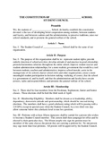 Student Council Constitution - High School or Middle School