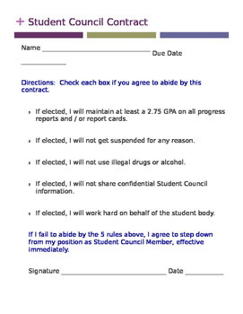 Student Council Contract (DOC)