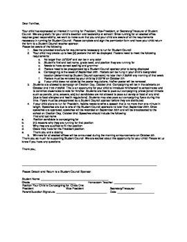 Student Council Permission Form