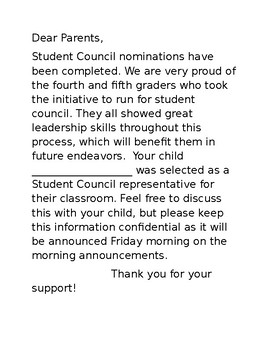 Student Council result letter