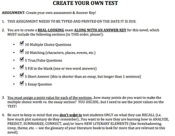 Student Create a Test (for any text) with Rubric *Editable
