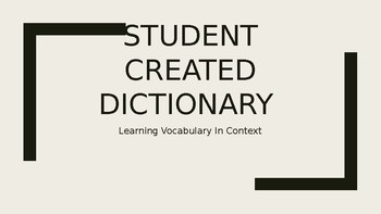 Student Created Dictionary