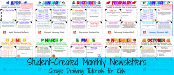Student Created Newsletter (Entire School Year!) Google Drawing, Google Drive