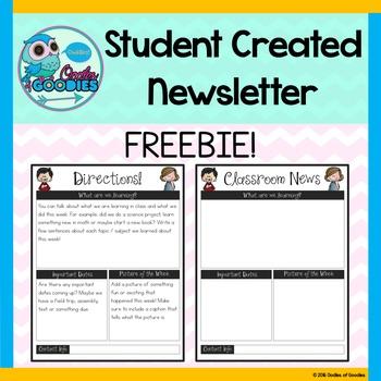 Student Created Newsletter Template - Editable