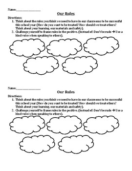 Student Created Rules Worksheet