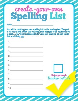 Student Created Spelling List