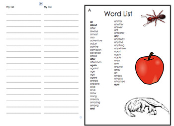 Student Creative Writing Word List Booklet 35 Page Booklet -